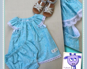 Baby girl clothing set, seaside top & nappy cover in blue floral, cotton with nylon lace trim, size 00