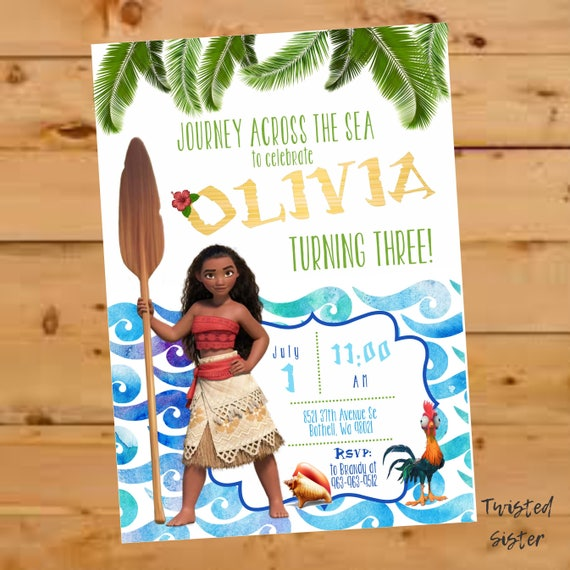Moana Birthday Party Invitation Moana Invitation Moana Invite
