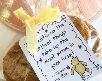 Winnie the Pooh Party Favor Bags with gift tags, Baby Shower Party Supplies, Pooh Birthday party