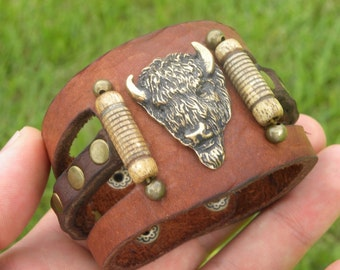 Bracelet ketoh Buffalo Bison Leather and brass head Western cowboy cowgirl style nice gift for Buffalo Bills fans