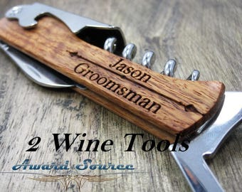 Father-of-the-groom gift - Customized Bride's gift to Father of the groom - Wine Bottle Opener gift for father in law 2 Groomsman Gifts