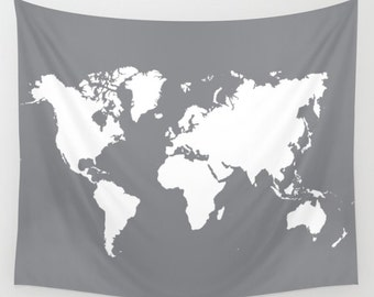World Map Wall Tapestry / Gray and Cream Modern Map Printed Wall Tapestry / Aldari Home