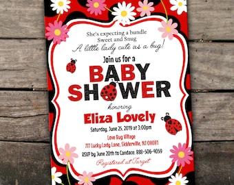 10% OFF NEW Printed or Digital Lady Bug Baby Shower Invitation Lady Bug Invitation Lady Bug Shower Baby Girl Baby Shower Invitation