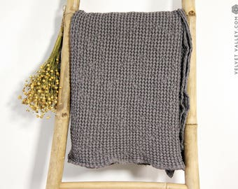 SALE-Linen cotton light grey bath towel- Waffle textured linen towel- Softened linen washcloth- Beach towel-Travel towel