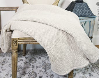Natural linen blanket- waffle textured linen bed throw- Velvet Valley softened linen blanket-waffle textured linen throw