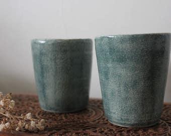 Handmade Pair of Ceramic Tumbler Cups/Mugs