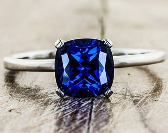 Limited Time Sale 1 carat cushion cut Sapphire Engagement Ring in 10k White Gold for Women