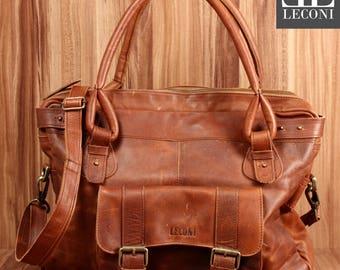 LECONI shoulder bag Tote purse bag handbag Leather Brown LE0050-wax