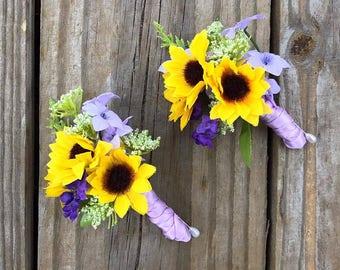 Boutonniere, Lavender Sunflower Boutonniere, Groom Boutonniere, Sunflower Boutonniere
