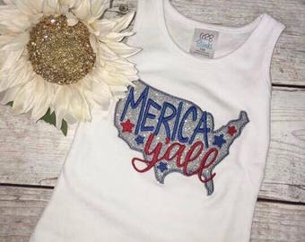 Merica Yall Tank Top, Fourth of July Tank, Glitter, Independence Day, July 4th, American Made, American Girl