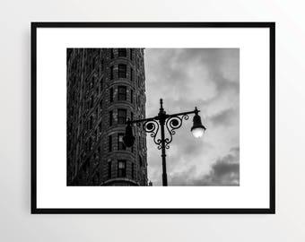 New York City Photography Print NYC Black and White B&W NY Street Art Urban Monochrome Manhattan Flatiron Building Lamp