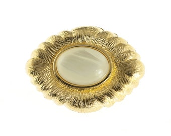 Monet Pearlescent Gold Plated Brooch