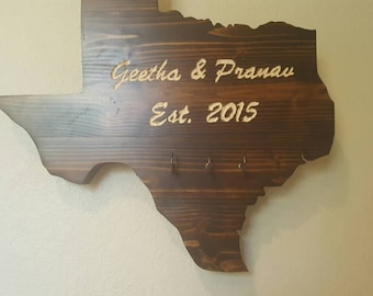 Custom Engraved Stained Pine Wood Texas Sign with Key Hooks