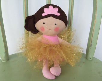 Princess Doll, Ballerina Doll, Pink With Gold Glitter Tutu