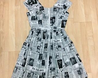 Newspaper Dog Newsprint Dress