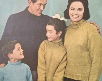 Lister family knitting pattern 1960's , turtle neck jumper