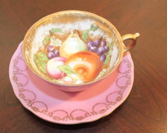 Royal Sealy Japan Cup and Saucer – Pink with Gold Accents and Fruit
