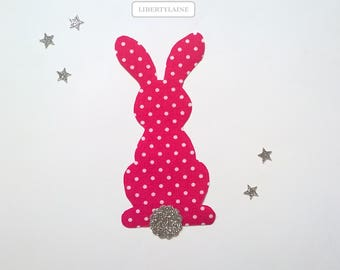 Together applied fusing fuchsia to peas and glittery silver flex rabbit