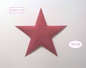 Applied interfacing large star in light pink glittery flex