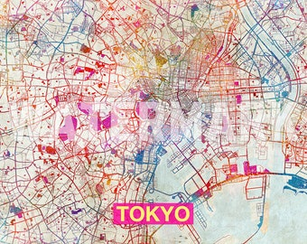 Tokyo Map - Original Art Print - City Street Map of Tokyo, Japan - Poster Watercolor Illustration Wall Art Home Decor Gift