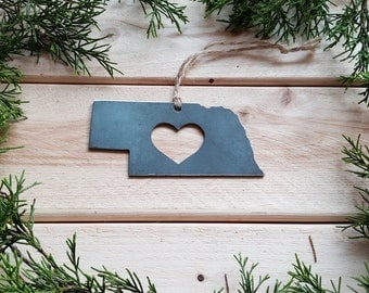 Love Nebraska State Steel Ornament Rustic NE Metal State Heart Host Gift Keepsake Travel Wedding Favor By BE Creations