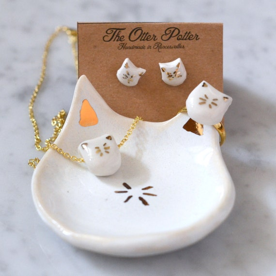 Ultimate Cat Lovers Gift Set - cat ring cat dish cat earrings cat necklace