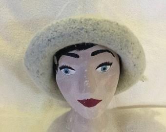 Cream with blue specks wool felted hat with cord