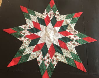 Vintage Handmade Quilted Christmas Star Table Topper - Green Red White - Holiday Decor