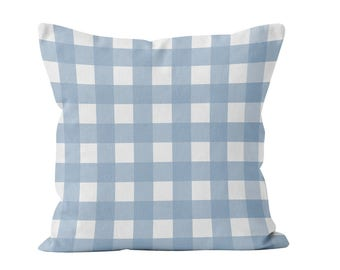 Pastel Blue Gingham Pillow Cover, pastel blue plaid pillow cover, pastel blue plaid farmhouse pillow cover, pastel blue farmhouse decor
