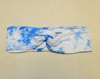 Royal Blue Tie Dye Turban Twist Head Wrap Headband