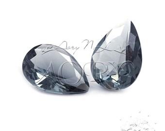 1pcs 14x10mm Amazing Elegant Gray Color Glass Jewel, Pear Shape (Teardrop) Faceted, Diamond/Brilliant Cut, Pointed Back, Unfoiled, SR53BH