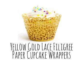 10 Pack Yellow Gold Lace Cutout Cupcake Wrappers, Leaf Vine Filigree Cupcake Wrapper, Cupcake Liners, Laser Cut Cupcake Wrapper, DIY Wedding