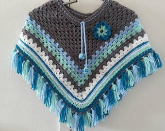 Blue/mint/gray crocheted poncho size 116-128