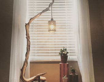 Rustic Floor Lamp, Wood Floor Lamp, Tree Branch Floor Lamp, Wooden Floor Lamp, Rustic Wood Floor Lamp, Copper Floor Lamp, Cozy Floor Lamp,