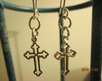"Handcrafted NEW 925 Sterling Silver Unique Cross Dangle Earrings with Special French Ear Wires, 2 Grams, 2"" Long"