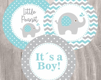 Elephant Baby Shower Printable Centerpieces, Teal and Grey Elephant Baby Shower Boy Centerpieces, Instant Download, Baby Shower Decoration