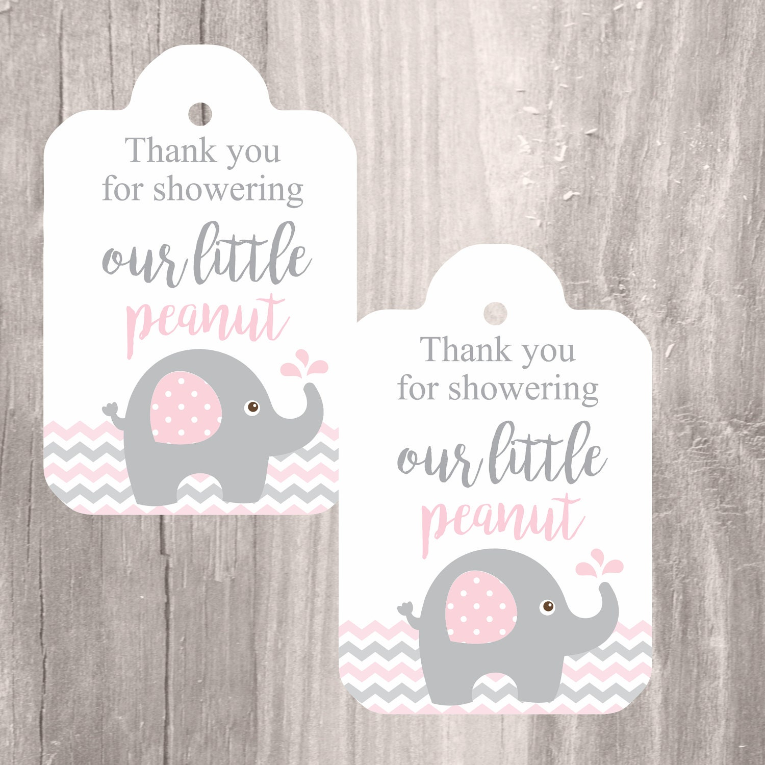 Printable elephant baby shower favor tags pink and grey for Printable baby shower favor tags