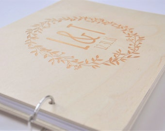 custom gold wood wedding guest book, wedding album laser engraved, personalized, guest book