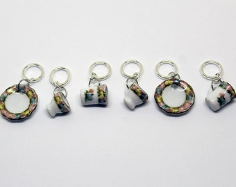 Tea Set knitting Stitch Markers - Set of 6