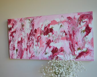 Red & Pink Drippy Marbled Abstract Painting
