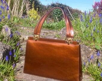 Vintage Jane Shilton Bronze Patent Leather Handbag. 1950's.