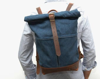 Waxed canvas rucksack/backpack,baltic blue color ,hand waxed