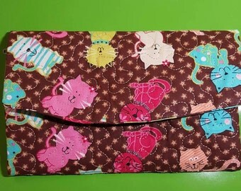 Cat Lovers - Quilted Front - Wallet/Checkbook/Phone Cover, Tri-Fold, Fabric, Clutch, Women's, Purse