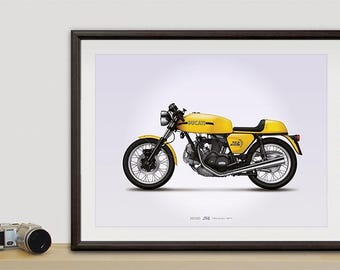 Ducati 750 Sport motorcycle illustration poster, print 18 x 24 inches