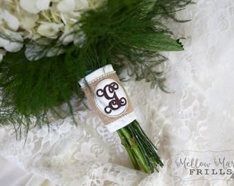 Custom Monogram Bridal Bouquet Wrap ~ Burlap Overlay