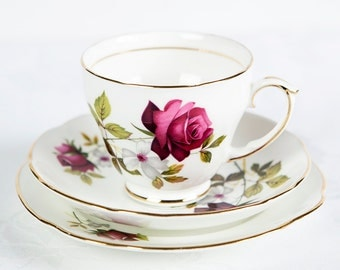 Duchess Rose Bone China - Tea Cup, Saucer & Side Plate Trio