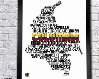 Colombia National Soccer Team Poster (James Rodriguez, Falcao, Yepes, Valderrama...)