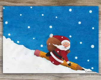 Originalillustration  christmas Santa Clause