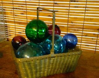 Vintage Woven Brass Basket, Gold Basket, Holiday Basket