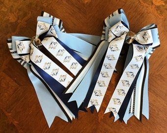 Horse Show Hair Bows Accessory, Blue brown equestrian clothing, gift